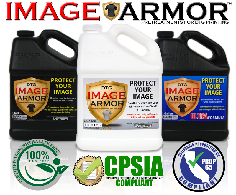 Image Armor Pretreatments Certified CPSIA and Prop65 Compliant, Phthalate Free, and Lead Free