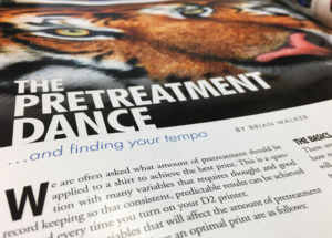 The Pretreatment Dance - an article about using the right amount of DTG pretreatment - Brian Walker